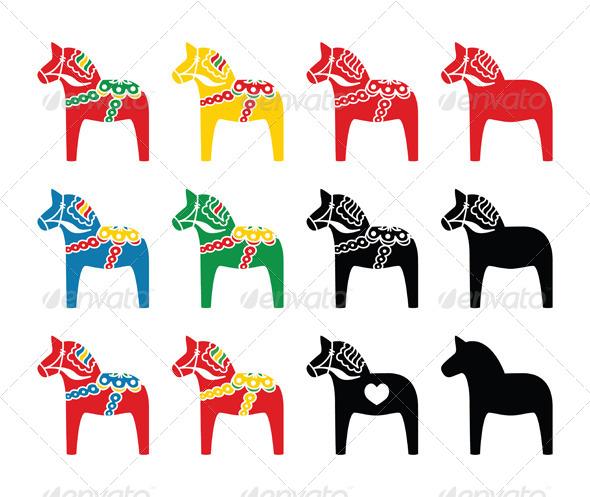 Swedish Dala Horse Vector Icons Set - Travel Conceptual