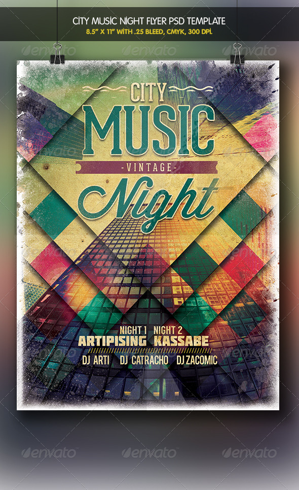 City Music Vintage Night | Flyer Template - Clubs & Parties Events