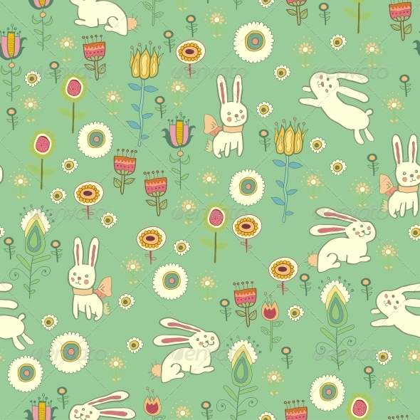 bright easter pattern with rabbits by pictulandra graphicriver
