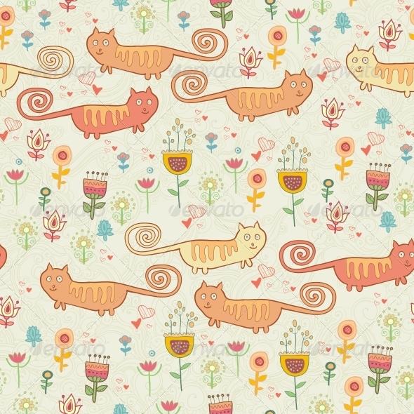 Childish Seamless Pattern with Cats - Patterns Decorative