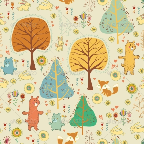Seamless Pattern in Childish Cartoon Style - Patterns Decorative