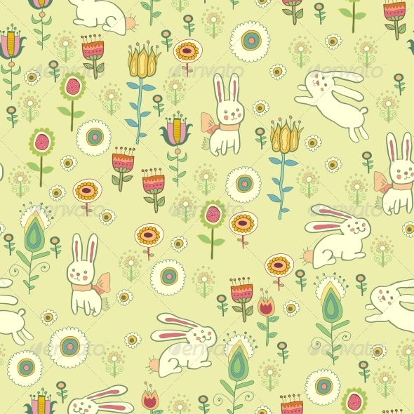 Bright Childish Seamless Pattern with Animals - Patterns Decorative