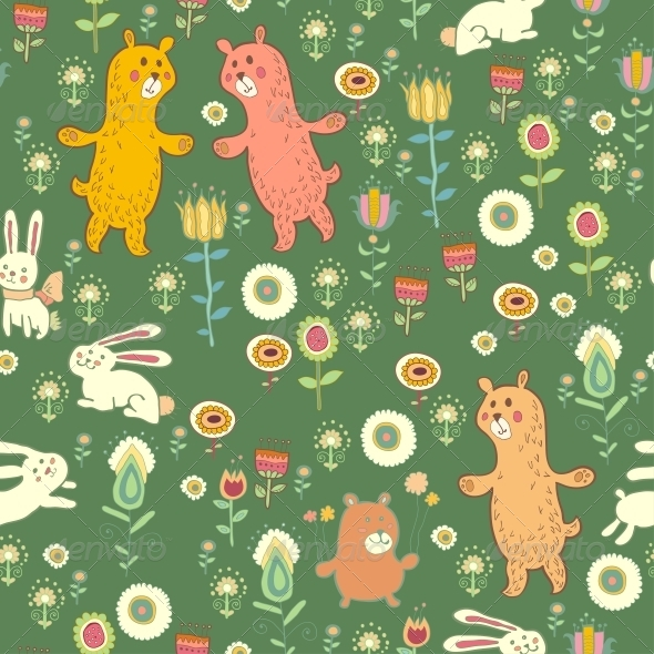Bright Childish Seamless Pattern with Animals - Patterns Decorative
