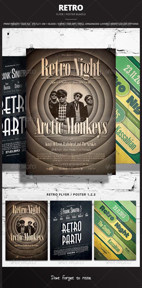 Retro Flyer / Poster Bundle - Events Flyers