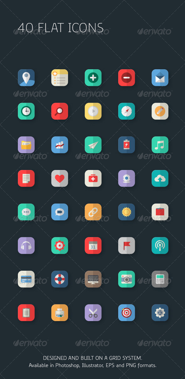 40 Business Flat Icons for Apps - Icons