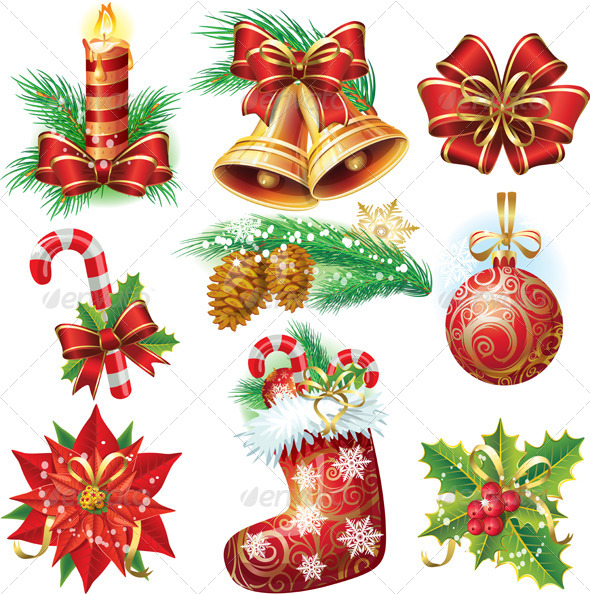 Set with Christmas Symbols and Objects - Christmas Seasons/Holidays