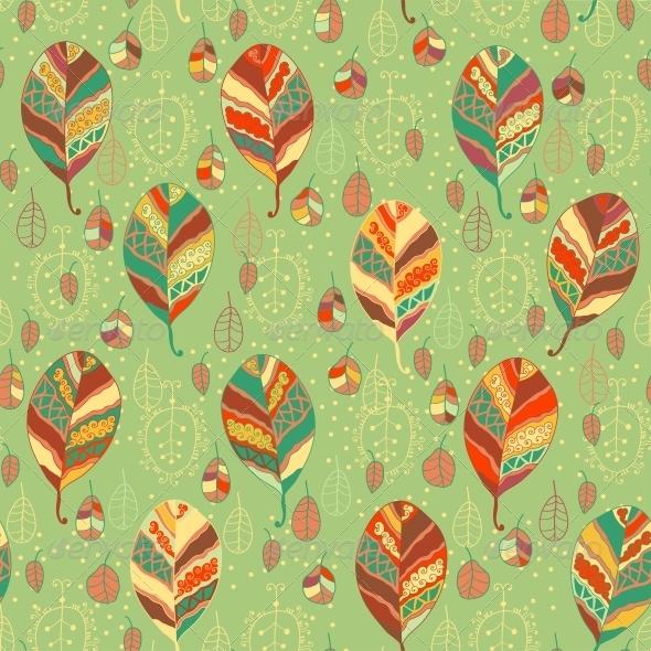 Cartoon Leaves - Patterns Decorative