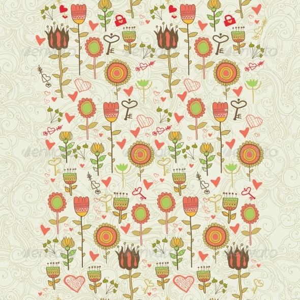 Cartoon Floral Seamless Pattern - Borders Decorative