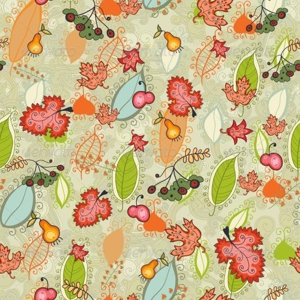 Autumn Thanksgiving Floral Seamless - Patterns Decorative