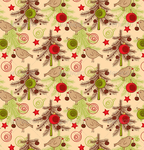 Seamless Pattern with Birds and Christmas Tree - Patterns Decorative