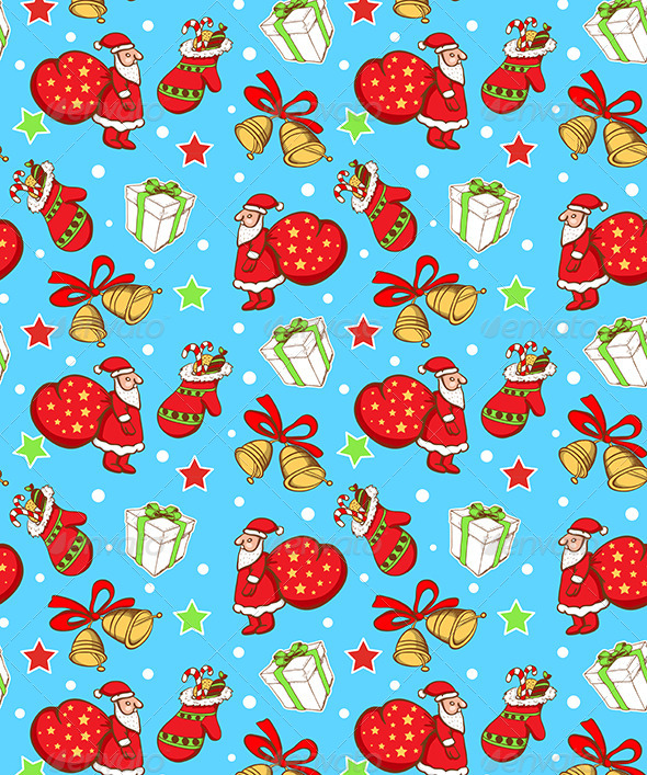 Seamless Pattern with Santa Claus and Gifts - Patterns Decorative
