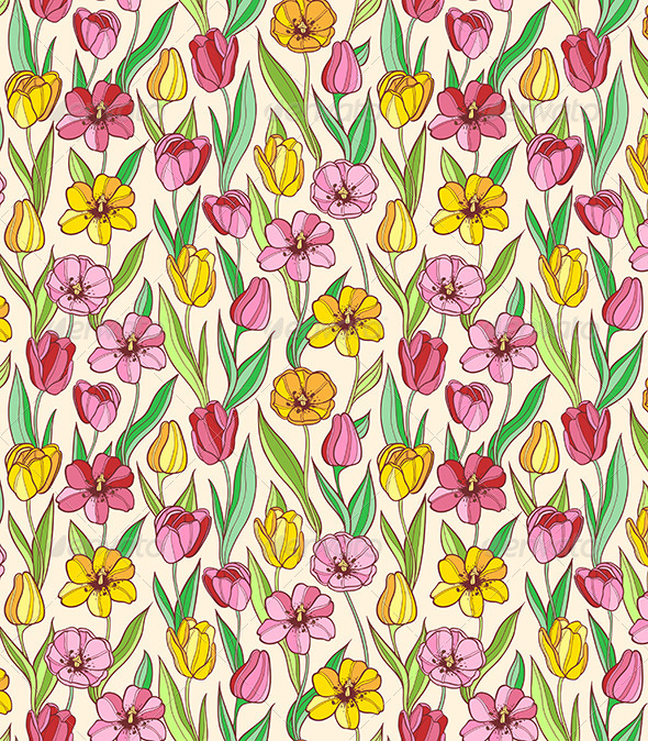 Pattern with Red and Yellow Tulips - Patterns Decorative