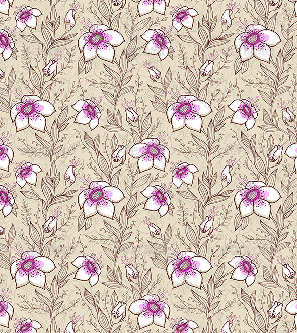 Pattern with Pink Flowers - Patterns Decorative