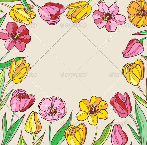 Background with Red and Yellow Tulips - Flowers & Plants Nature