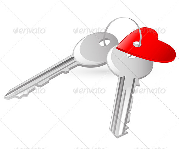 Two Keys with Red Heart Tag - Valentines Seasons/Holidays