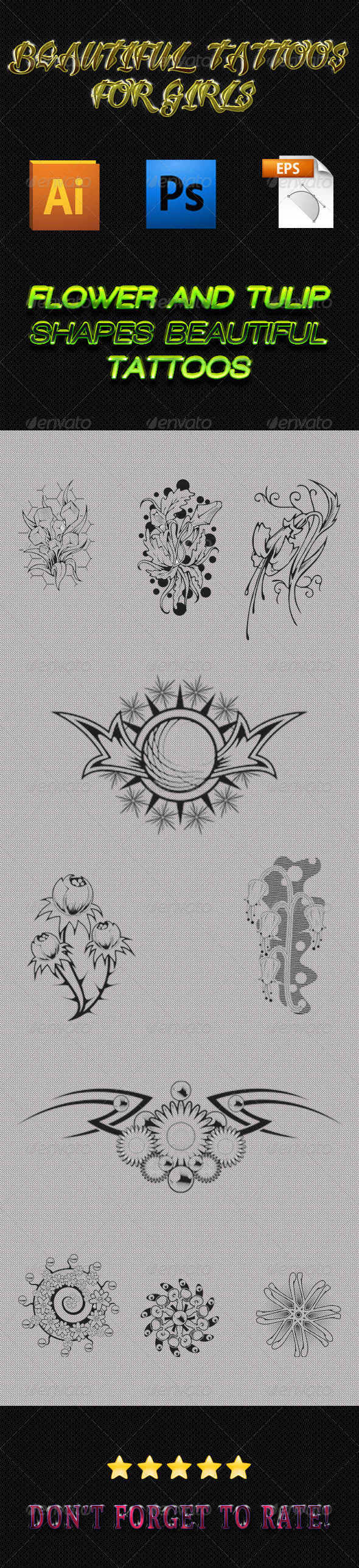 Girls Tattoos 02 - Tattoos Vectors
