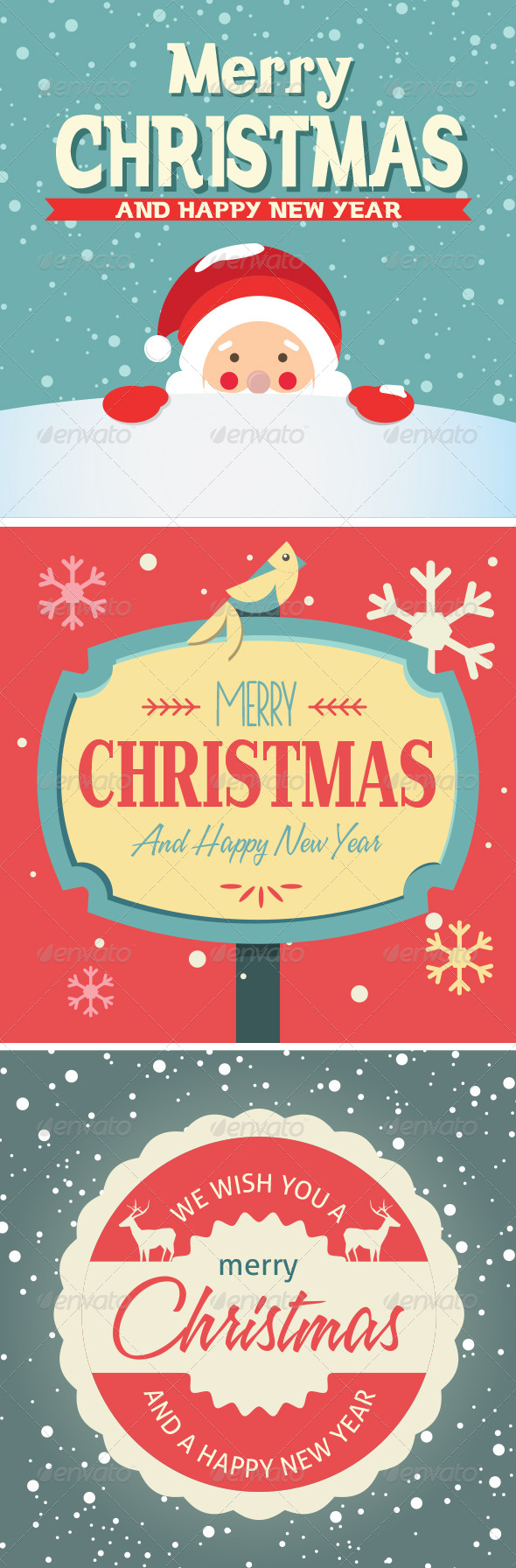 Vector Elements for Christmas Cards - Christmas Seasons/Holidays