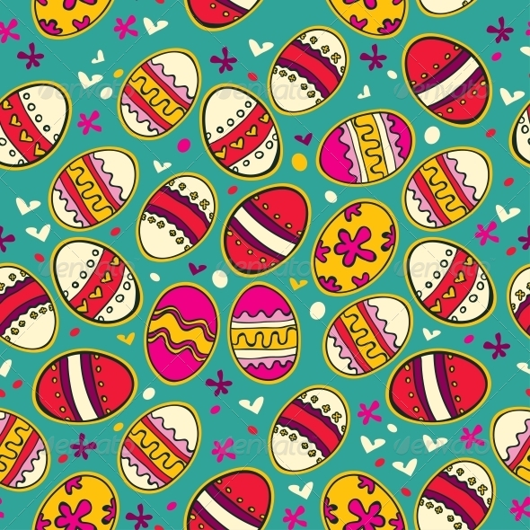 Blue Pattern with Colorful Easter Eggs. - Patterns Decorative