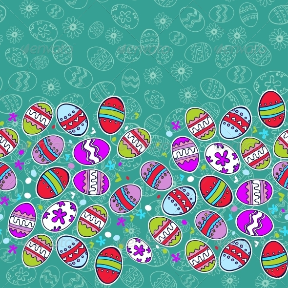 Bright Background with Easter Egg - Borders Decorative