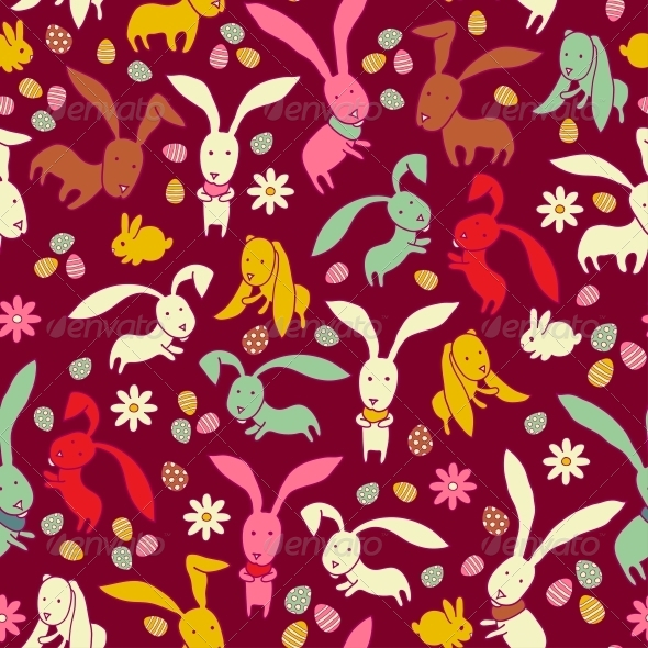 Bright Easter Pattern with Rabbits - Patterns Decorative
