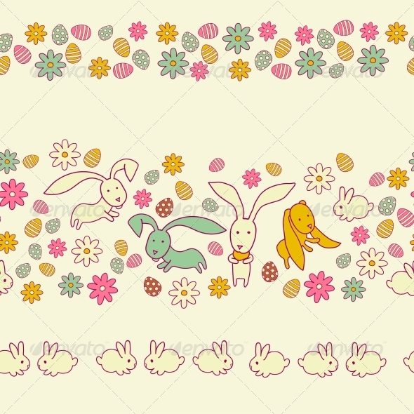 Easter Eggs, Flowers and Rabbits - Borders Decorative