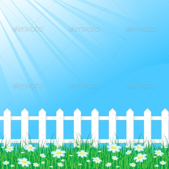 Blue Sky with White Fence - Landscapes Nature
