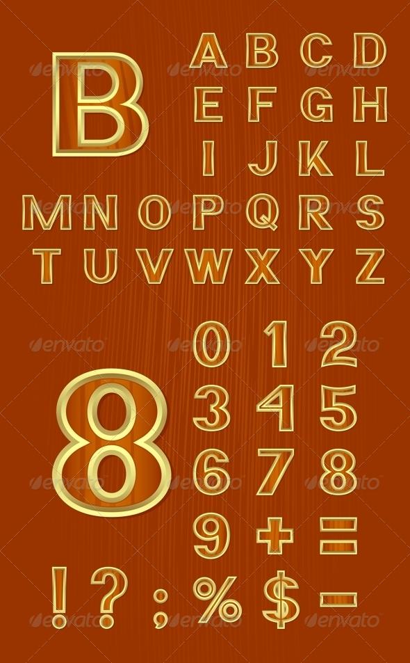 Alphabet Set with Symbols and Numbers - Decorative Symbols Decorative