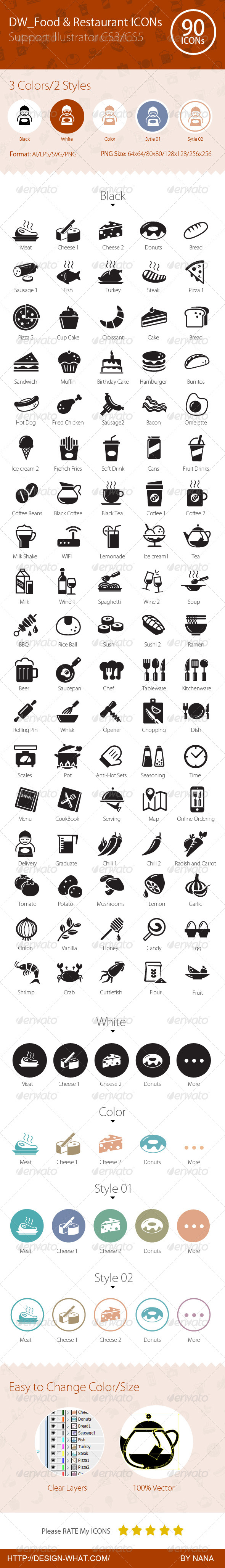 90 Food & Restaurant ICONs - Web Icons