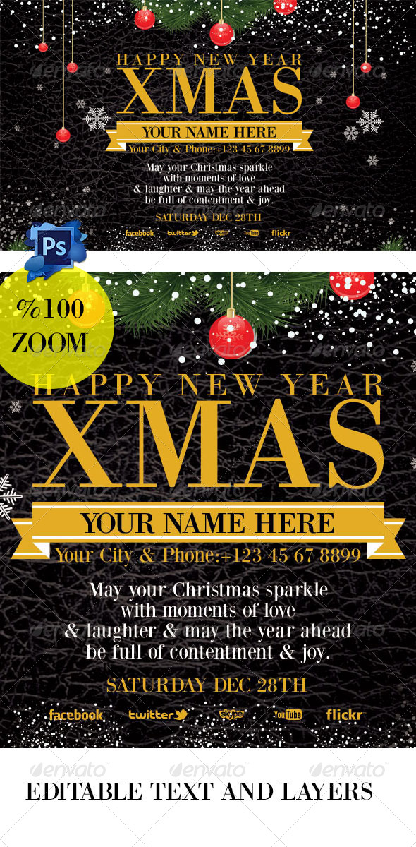 Christmas Invation Card black - Events Flyers