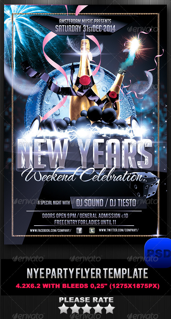 NYE Party Flyer Template - Events Flyers