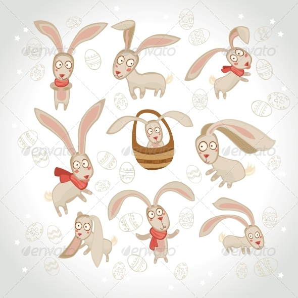 Vector Illustration of Collection of Easter Bunny - Religion Conceptual