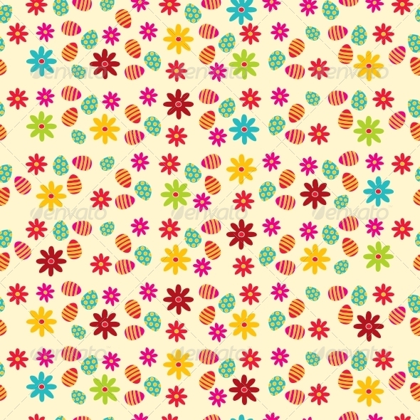 Vector Seamless Easter Eggs Background - Patterns Decorative