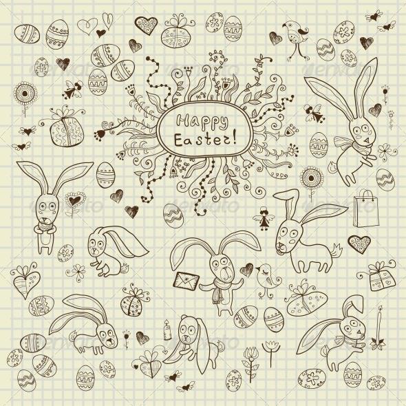 Easter Hand Drawn Icon's Set - Decorative Symbols Decorative