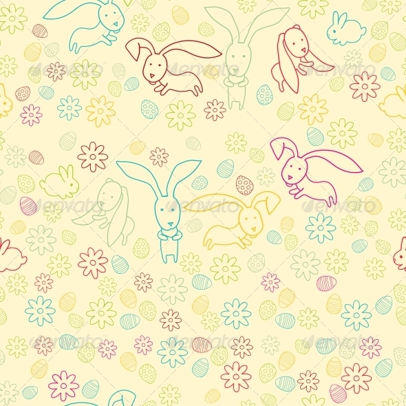 Background with Easter Bunnies and Eggs - Patterns Decorative