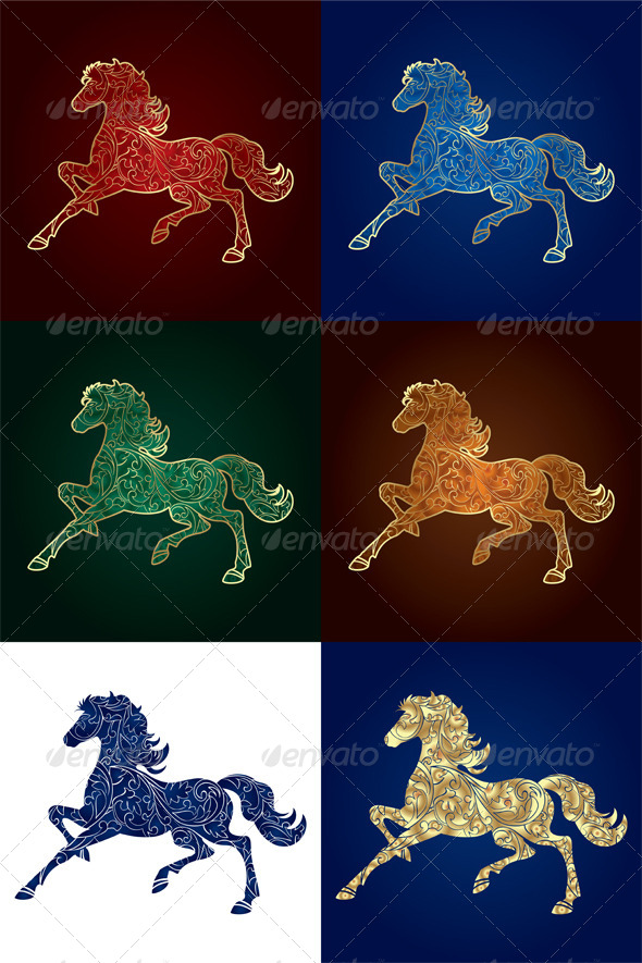 Set of Vintage Horse Silhouette - Backgrounds Decorative