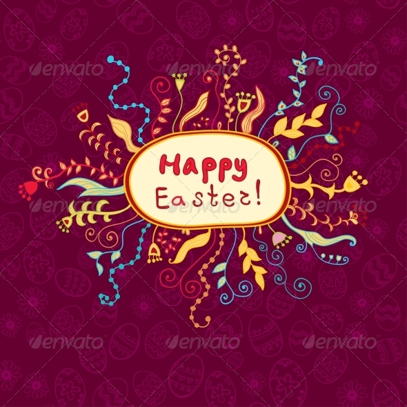 Easter Card Frame with Colorful Flowers - Backgrounds Decorative