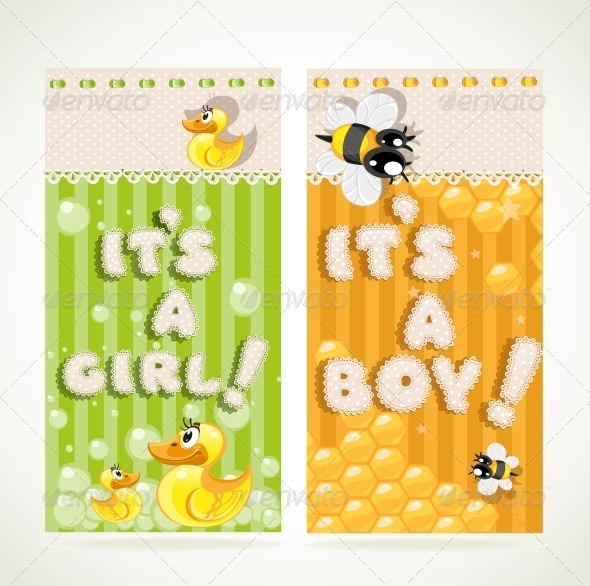 Yellow  and Green Vertical Baby Banners - Birthdays Seasons/Holidays