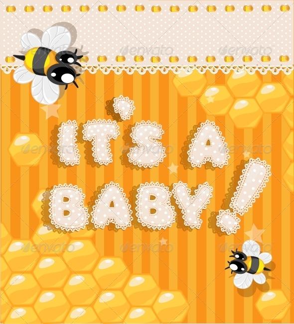 Yellow Honey Announcement Card - Birthdays Seasons/Holidays