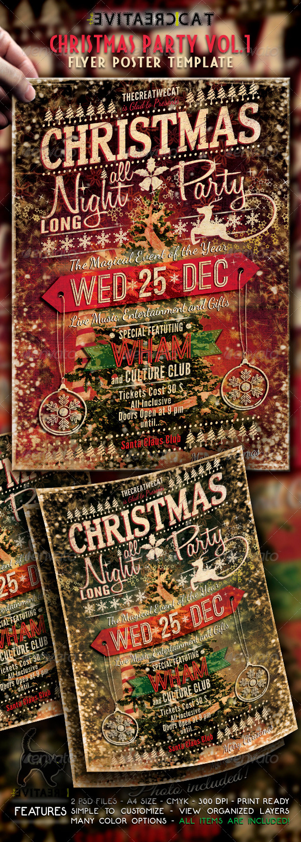 Christmas Party - Vintage Style Flyer/Poster Vol.  - Events Flyers