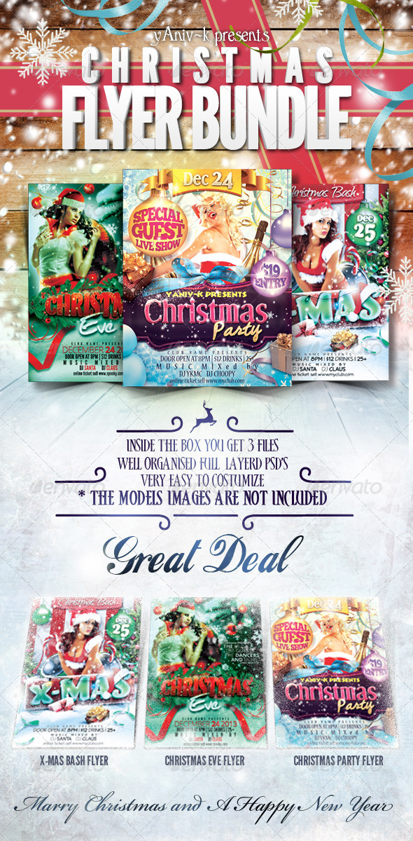 Christmas Event Flyer Bundle - Flyers Print Templates