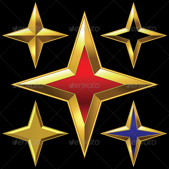 Set of Golden Shiny Four-Point Stars - Objects Vectors