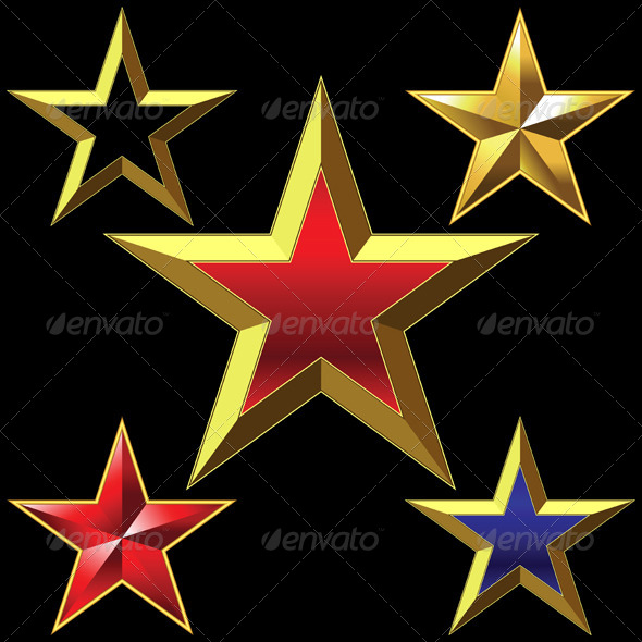 Vector Set of Golden Shiny Five Pointed Stars - Objects Vectors