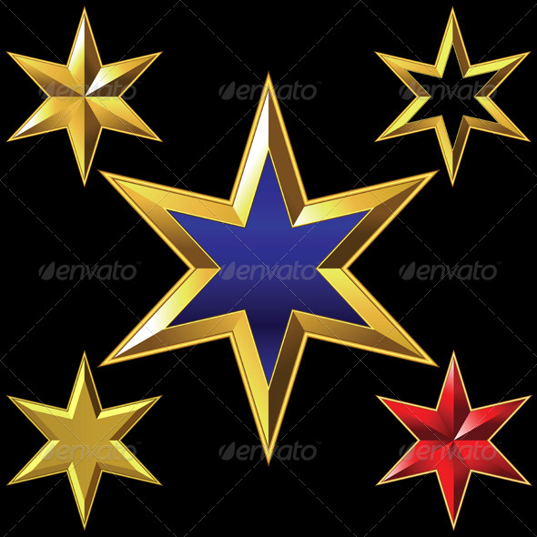 Gold Six-Pointed Stars - Objects Vectors