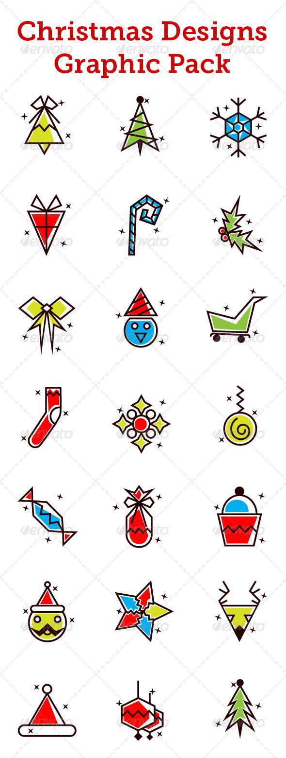 Christmas Designs Vector Pack - Decorative Vectors