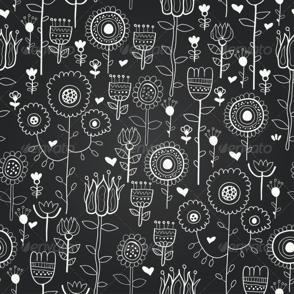 Vector Chalkboard Seamless Floral Pattern - Patterns Decorative