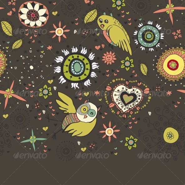 Floral Background with Birds - Backgrounds Decorative