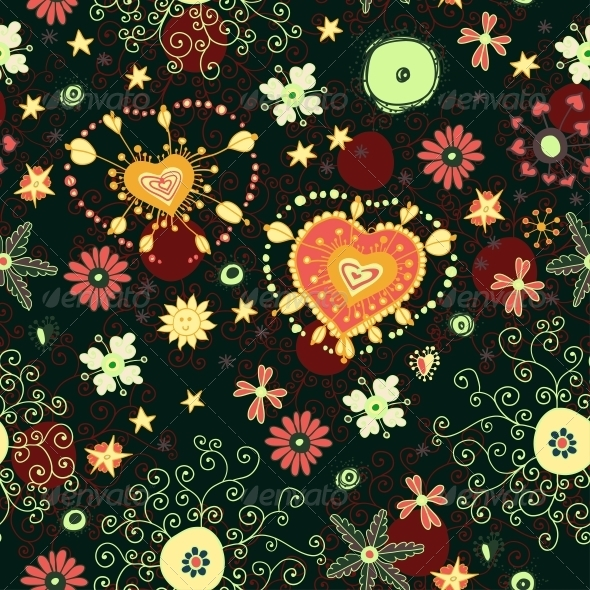 Floral Seamless Pattern with Flowers - Patterns Decorative