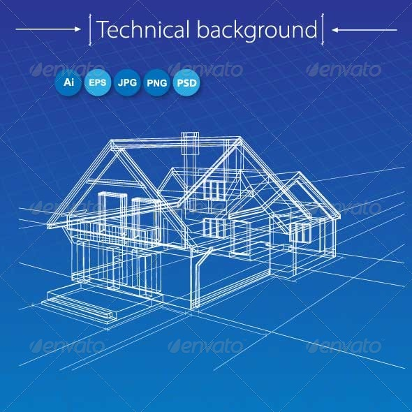 Vector Sketch of a House on Blue - Buildings Objects