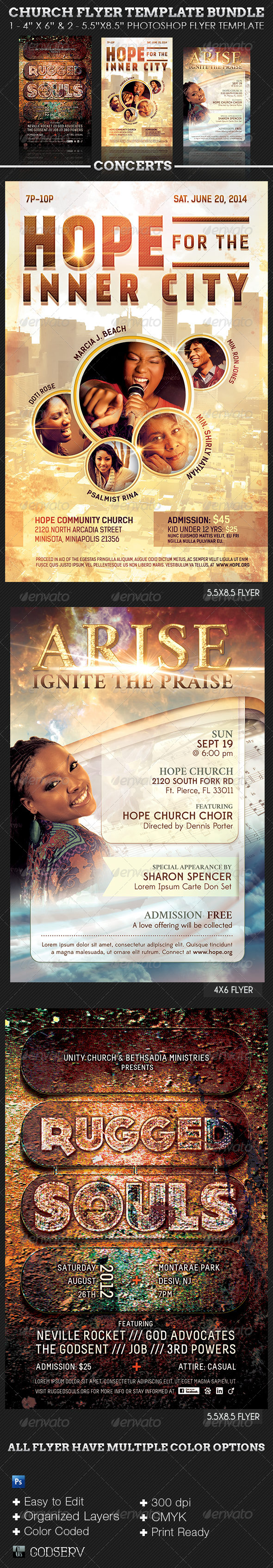 Church Concert Flyer Template Bundle - Concerts Events