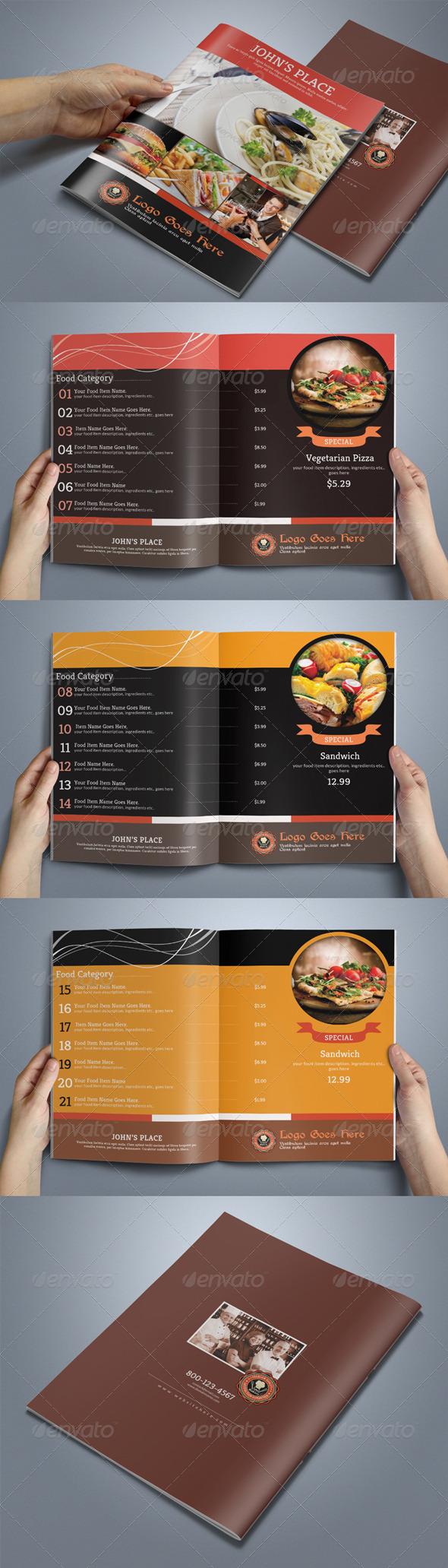 8 Pages Food Menu - Food Menus Print Templates